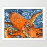kraken Art Prints featuring Kraken by Amy Nickerson