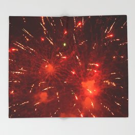 Red Fireworks Throw Blanket