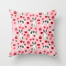 Border Collie valentines day cupcakes love hearts dog breed gifts collies herding dogs pet friendly Throw Pillow