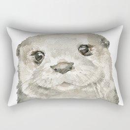 Otter Face Watercolor Painting Rectangular Pillow