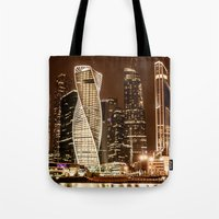 moscow Tote Bags featuring Moscow city by Vlad&Lyubov