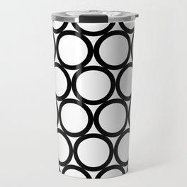 Modern Geometric White and Black Rings Travel Mug
