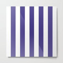 Dark slate blue violet - solid color - white vertical lines pattern Metal Print