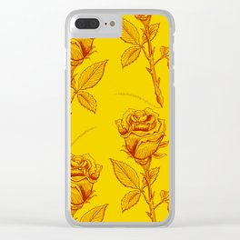 Yellow Roses pattern Clear iPhone Case