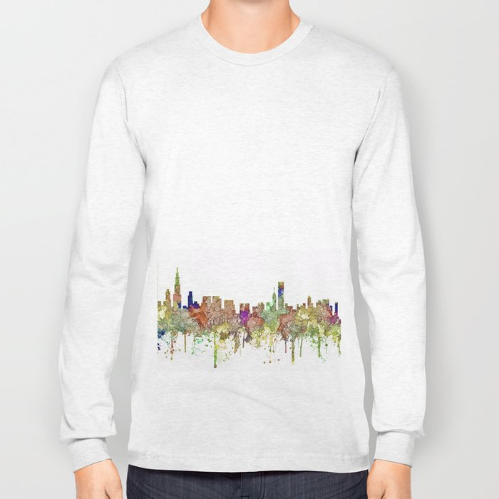 Chicago,Ilinois Skyline SG -Faded Glory Long Sleeve T-shirt