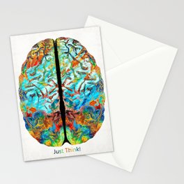 Colorful Brain Art - Just Think - By Sharon Cummings Stationery Cards