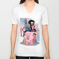steven universe V-neck T-shirts featuring Steven Universe by Laura Pulido
