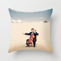 cello Throw Pillows featuring Desert Cello by diane555