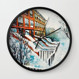 Brooklyn New York In Snow Storm Wall Clock