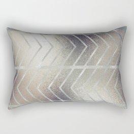 Luxury Silver and Black Herring Bone Pattern Rectangular Pillow