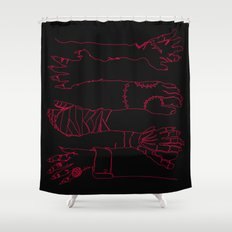 Classic Horror Hands (Red Line on Black) Shower Curtain