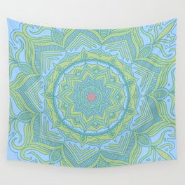 Blue and Green Flower Mandala Wall Tapestry