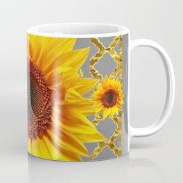 Grey & Gold Yellow Sunflowers  Gold Lattice Art Coffee Mug