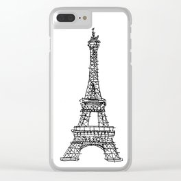 Eiffel Tower Graphic Pen Sketch Clear iPhone Case