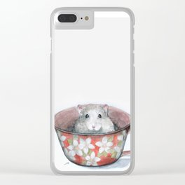 Rat in a cup Clear iPhone Case