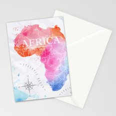 Color Africa Map Stationery Cards