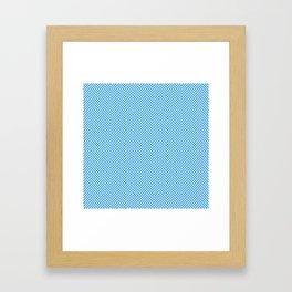Small Pale Blue & White Herringbone Pattern Framed Art Print