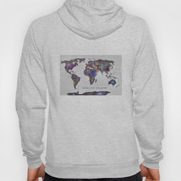 """Star map. Never stop exploring...II"". World map. Hoody"