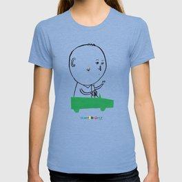 A man in a car T-shirt