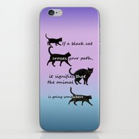 marx iPhone & iPod Skins featuring Black cat crossing by IvanaW