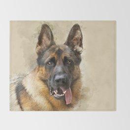 German Sheppard Portrait Throw Blanket