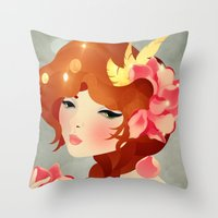 lily Throw Pillows featuring Lily by Jenny Lloyd Illustration