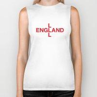 england Biker Tanks featuring ENGLAND by eyesblau