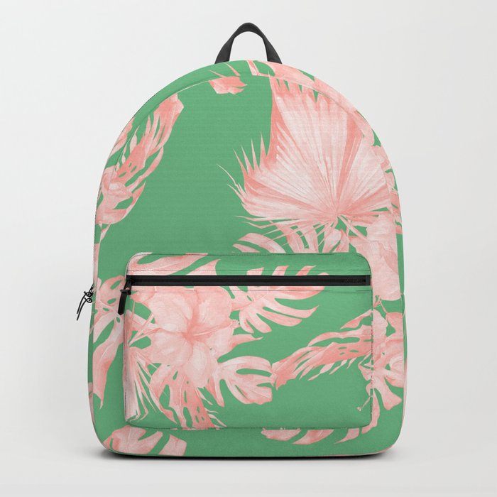 Dreaming of Hawaii Seashell Pink + Green Backpack