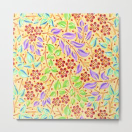 Sunshine Filigree Floral Metal Print