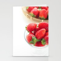 strawberry Stationery Cards featuring strawberry by yumehana design fine art photography