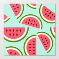 watermelon Canvas Prints featuring Watermelon by Cute Cute Cute