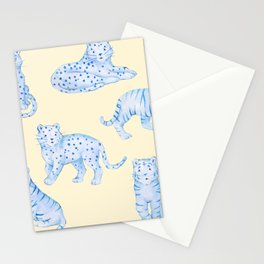 Blue Big Cats Cheetah Tiger Leopard Kawaii Yellow Background Stationery Cards