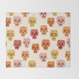 Dia de los Muertos Mexican Decorated Skull Art Throw Blanket