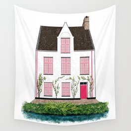 Pink and White House in Bruges Wall Tapestry