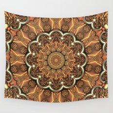 Molten Copper Mandala Wall Tapestry