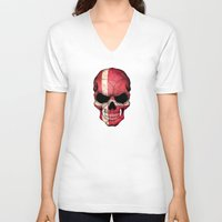 denmark V-neck T-shirts featuring Dark Skull with Flag of Denmark by Jeff Bartels