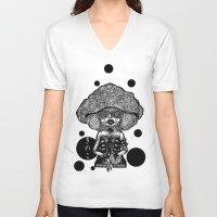 mushroom V-neck T-shirts featuring Mushroom by AKIKO