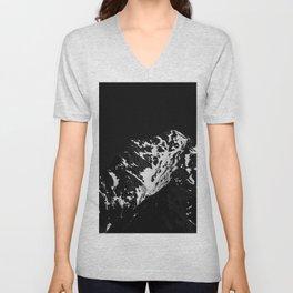 Minimalistic black and white snow covered mountain Unisex V-Neck