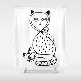 Graphic black white line art cat Shower Curtain