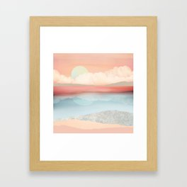 Mint Moon Beach Framed Art Print