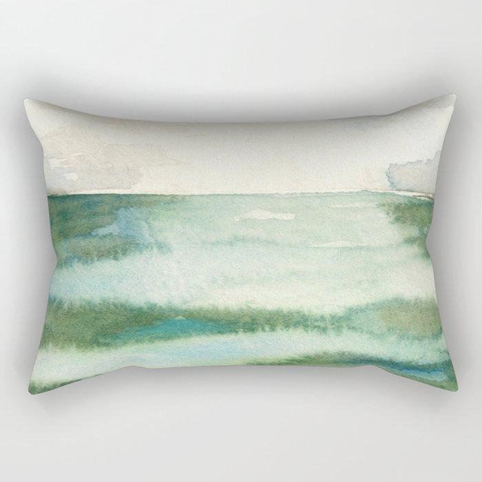 Emerald Sea Watercolor Print Rectangular Pillow