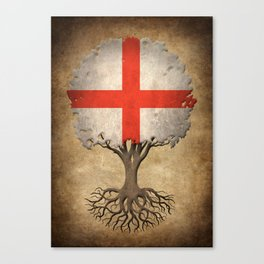 Vintage Tree of Life with Flag of England Canvas Print