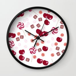 Candy lollipops of cherry Wall Clock