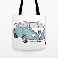 vw Tote Bags featuring VW Camper by 1and9