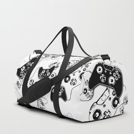 Video Game Black on White Duffle Bag