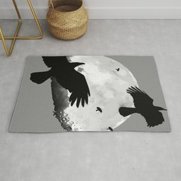 A Murder Of Crows Flying Across The Moon Rug