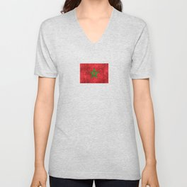Vintage Aged and Scratched Moroccan Flag Unisex V-Neck