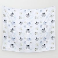 seashell Wall Tapestries featuring Shell Pattern by Christina Rollo