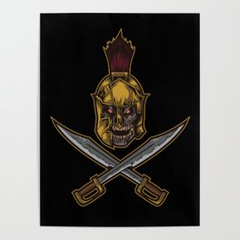 Spartan Warrior | Sparta Greek Fighter Skull Sword Poster
