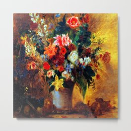 Eugene Delacroix Still Life of Flowers Metal Print